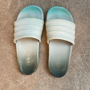 Adidas Blue and Grey Ombré Slides